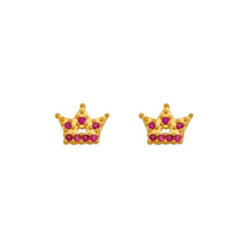 343-245RD Red Tiara CZ Stud Earrings