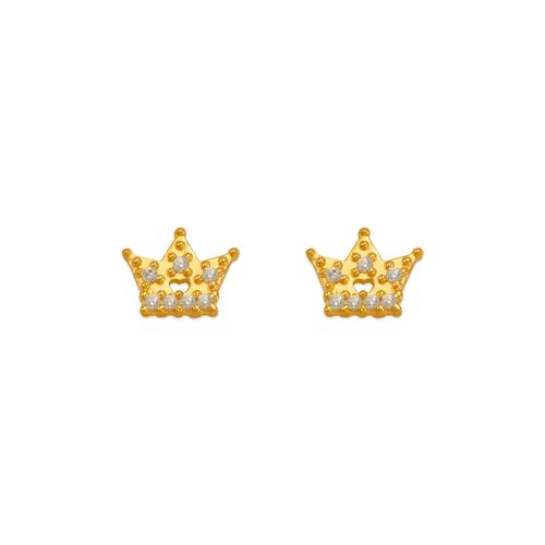 343-245WH White Tiara CZ Stud Earrings