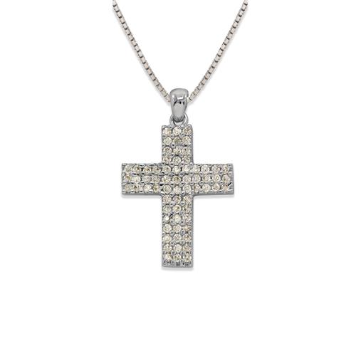 661-108W Cross CZ Pendant