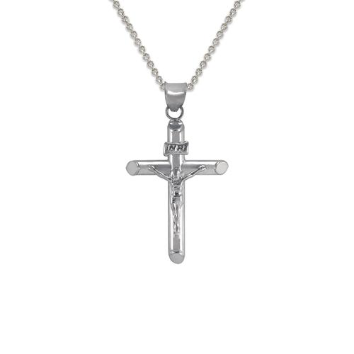 366-102W Round Tube Jesus Cross Pendant