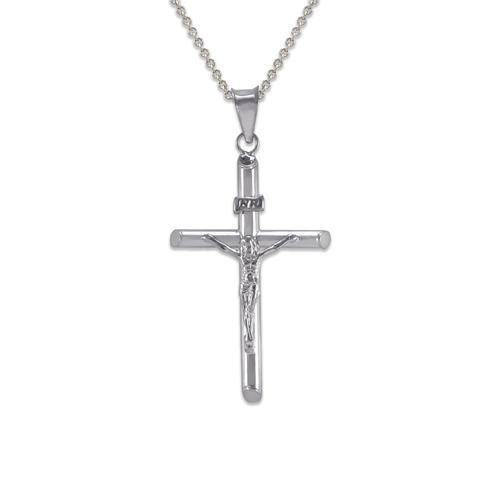 366-103W Round Tube Jesus Cross Pendant