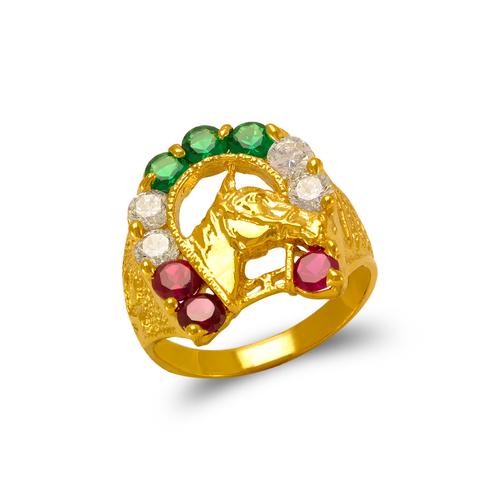 573-910 Men's Horse Horseshoe CZ Ring