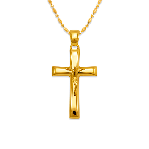 161-254 High Polished Cross Jesus Pendant