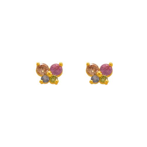 343-164MX Butterfly White CZ Stud Earrings