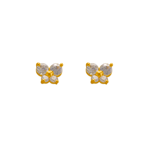 343-164WH Butterfly White CZ Stud Earrings