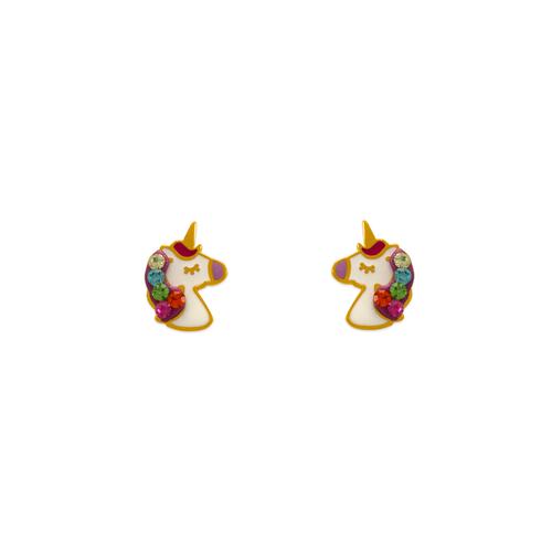 343-512 Enamel Unicorn Stud Earrings