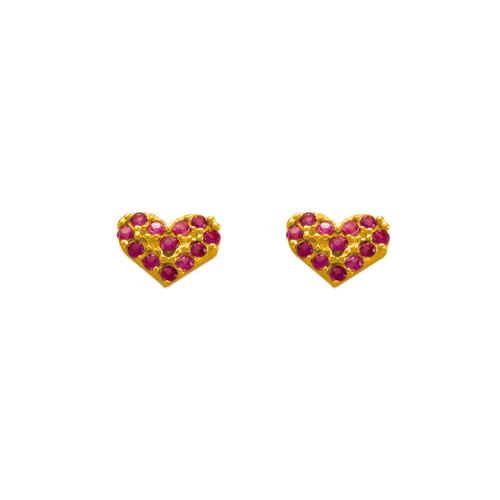 343-532 Rosy Heart CZ Stud Earrings
