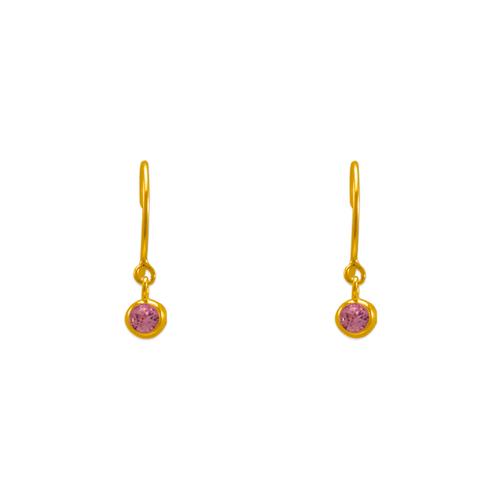 343-621PK Dangling Pink CZ Stud Earrings
