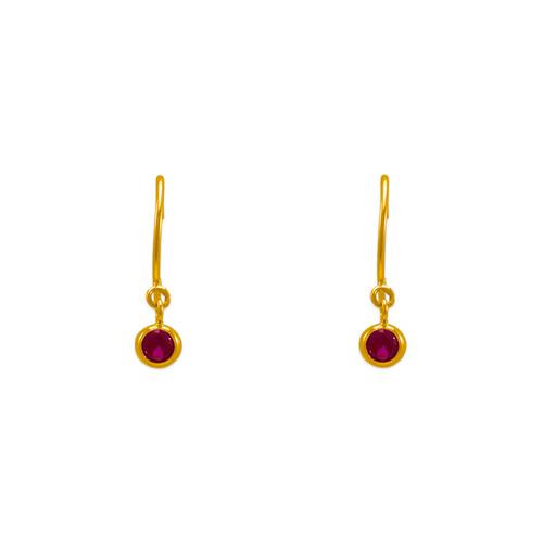 343-621RD Dangling Red CZ Stud Earrings