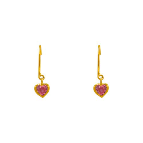 343-622PK Dangling Pink Heart CZ Stud Earrings