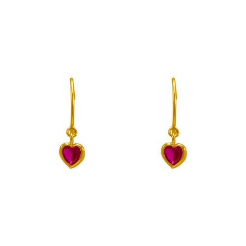 343-622RD Dangling Red Heart CZ Stud Earrings
