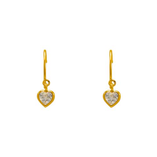 343-622WH Dangling White Heart CZ Stud Earrings