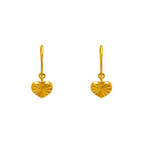 343-623 Dangling D/C Heart Stud Earring