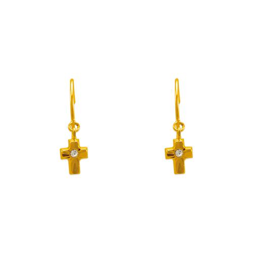 343-624 Dangling D/C Cross Stud Earrings