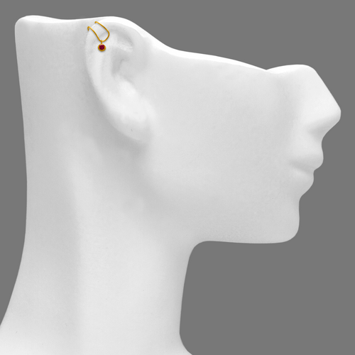 343-807RD Double Wire Red CZ Cuff Earring