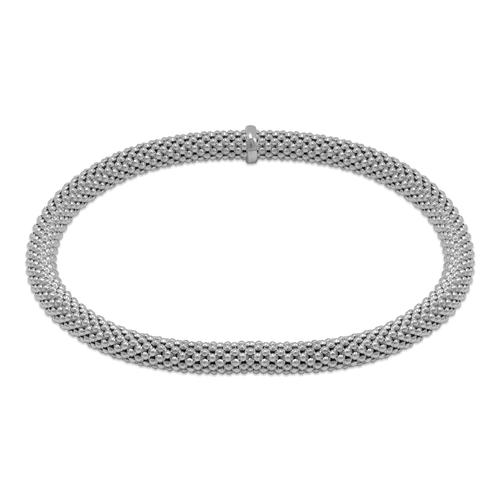 129-002W-050 5mm Stretch Bangle White Bracelet