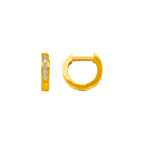 443-251 High Polished Huggie CZ Earrings