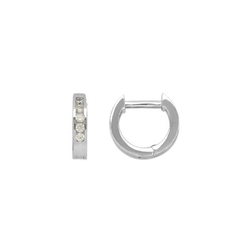 443-251W High Polished Huggie CZ Earrings