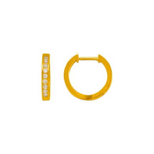 443-252 High Polished Huggie CZ Earrings
