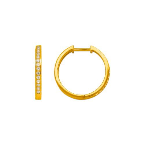 443-253 High Polished Huggie CZ Earrings