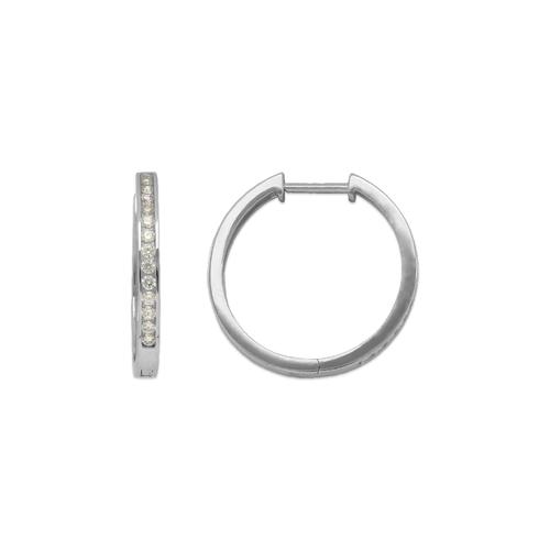 443-253W High Polished Huggie CZ Earrings