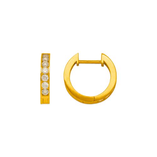 443-254 High Polished Huggie CZ Earrings
