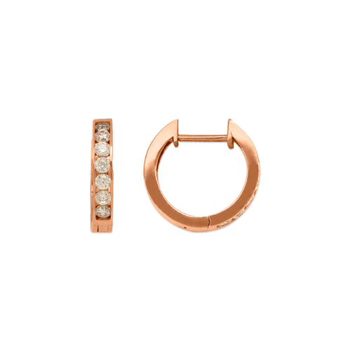 443-254R High Polished Huggie CZ Earrings