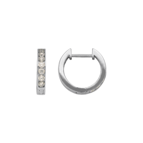 443-254W High Polished Huggie CZ Earrings