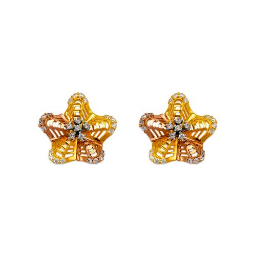 443-761 Fancy Flower CZ Stud Earrings