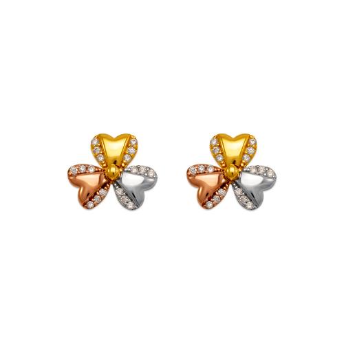 443-762 Fancy Flower CZ Stud Earrings