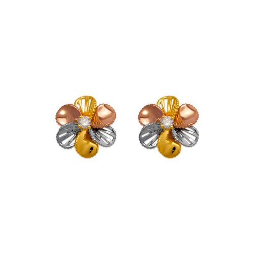 443-763 Fancy Flower CZ Stud Earrings