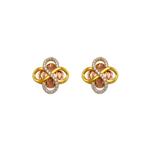 443-764 Fancy Flower CZ Stud Earrings