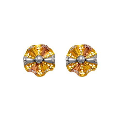 443-767 Fancy Flower CZ Stud Earrings