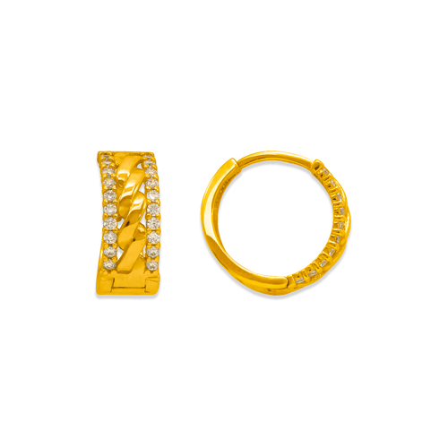 243-211 Huggie CZ Earrings