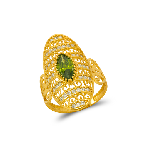 273-403 High Polished CZ Filigree Ring