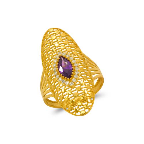 273-405 High Polished CZ Filigree Ring