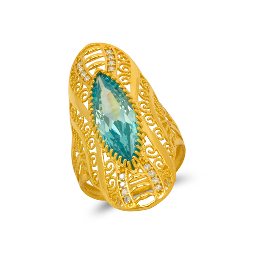 273-408 High Polished CZ Filigree Ring