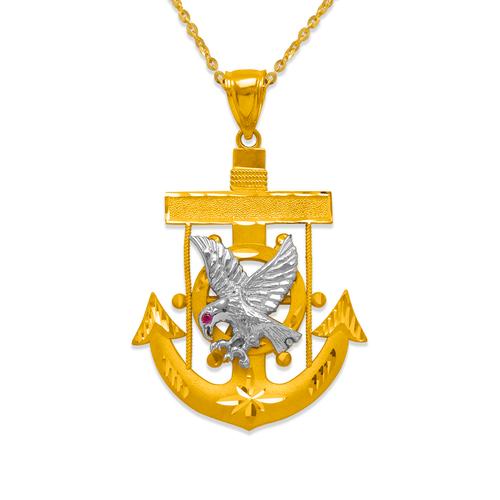 568-087 Fancy Eagle Anchor CZ Pendant