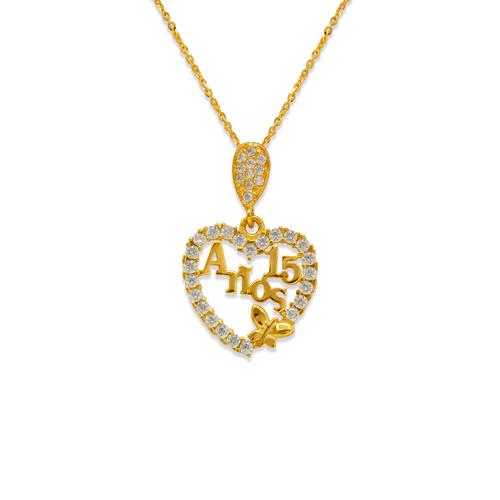 263-045 Fancy 15 Anos Heart CZ Pendant