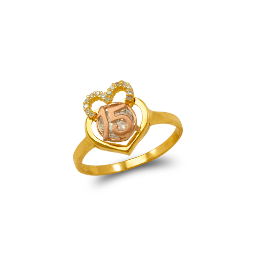 483-031 Fancy 15 Anos Double Heart CZ Ring