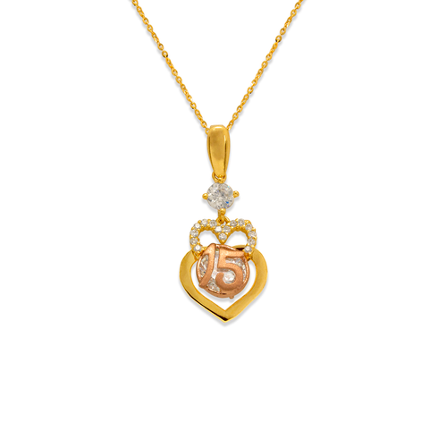 483-032 Fancy 15 Anos Double Heart CZ Pendant