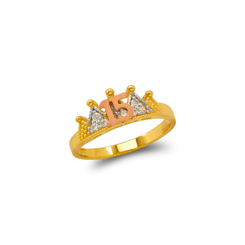 483-033 Fancy 15 Anos Crown CZ Ring