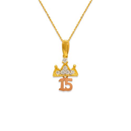 483-034 Fancy 15 Anos Crown CZ Pendant