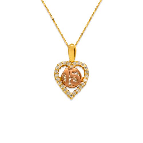 483-011P Fancy 15 Anos Heart CZ Pendant