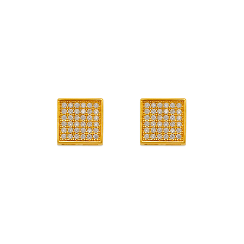 743-030 Fancy Square Pave CZ Stud Earrings