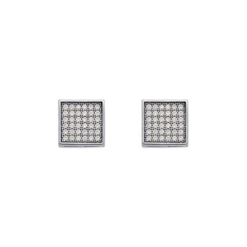 743-030W Fancy Square Pave CZ Stud Earrings