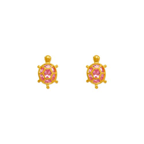 443-458PK Turtle CZ Stud Earrings