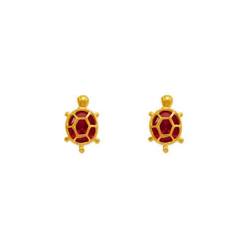 443-458RD Turtle CZ Stud Earrings