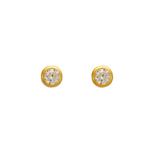 343-052 4mm Round Bezel CZ Stud Earrings
