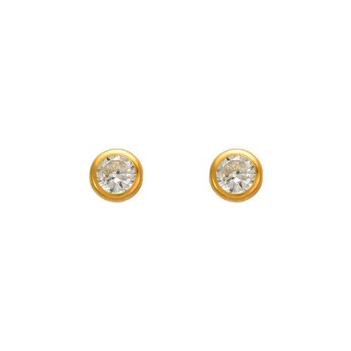 343-053 5mm Round Bezel CZ Stud Earrings